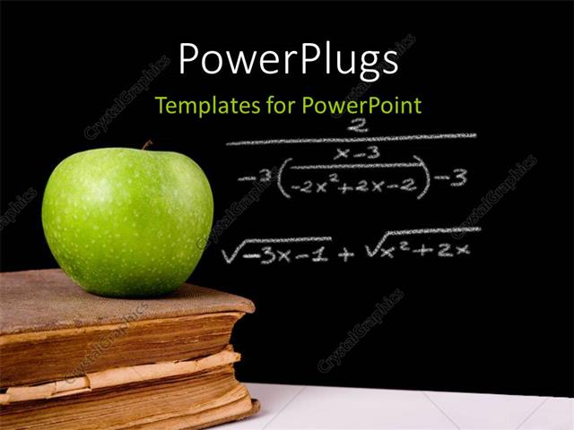 powerpoint template: green apple on vintage book with equation, Modern powerpoint