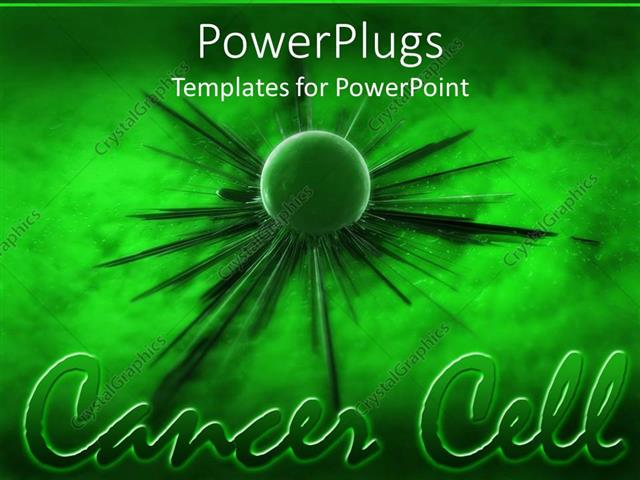 powerpoint template: green cancer cell spreading green background, Modern powerpoint