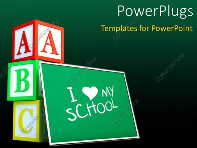 Powerpoint template green chalkboard with text i love school and powerpoint template displaying green chalkboard with text i love school and letter cubes toneelgroepblik Images