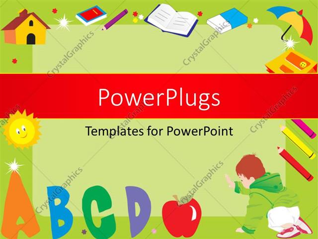 Powerpoint template green frame with alphabets abcd books powerpoint template displaying green frame with alphabets abcd books colors umbrella eraser toneelgroepblik Choice Image