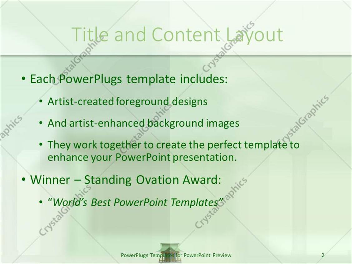 powerpoint template: green japanese house on a light green hue, Powerpoint templates