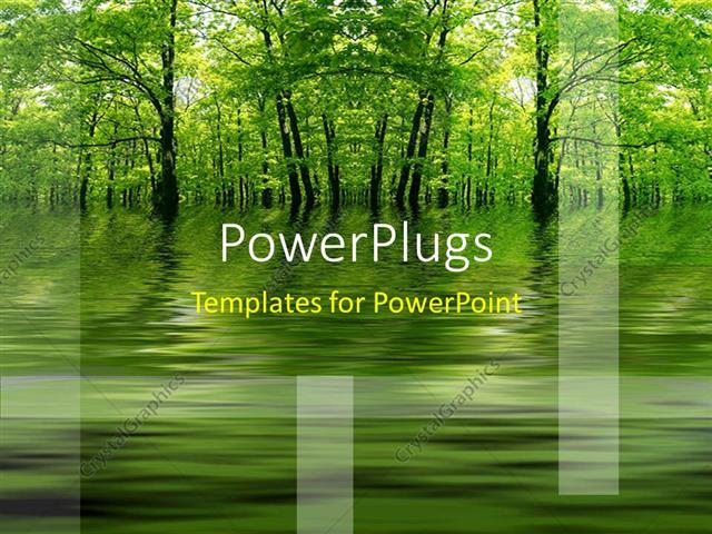 powerpoint template: green lake in a forest as a metaphor with a, Modern powerpoint