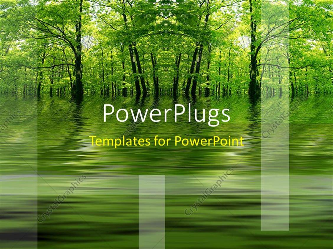 PowerPoint Template Displaying Green Lake in a Forest as a Metaphor with a Yellow Background