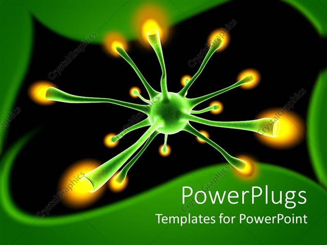 powerpoint template: green neuron cell with yellow tips in a dark, Modern powerpoint