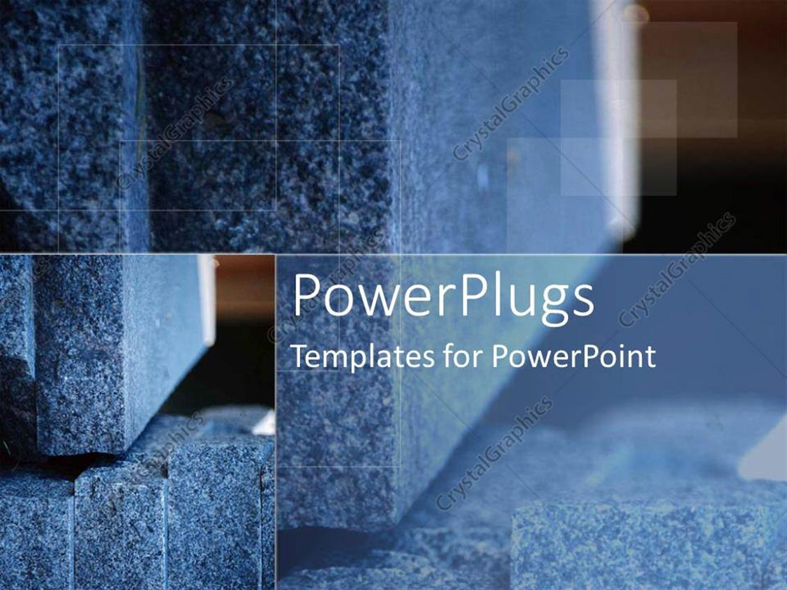 PowerPoint Template Displaying Grey Stone and Plaques as a Metaphor for Foundation and Structure on a Brown Background