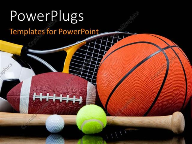 Powerpoint Template: Group Of Sports Equipment On Black Background