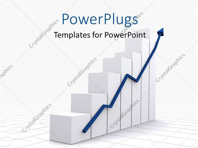 Powerpoint Template A Growth Chart With A Growth Arrow And Place