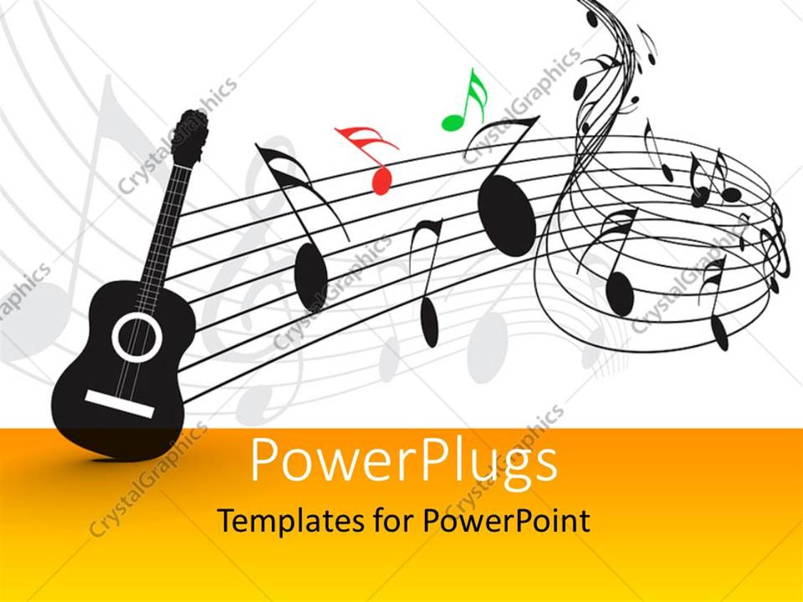 PowerPoint Template Displaying Guitar with Music Notes and Symbols in Background