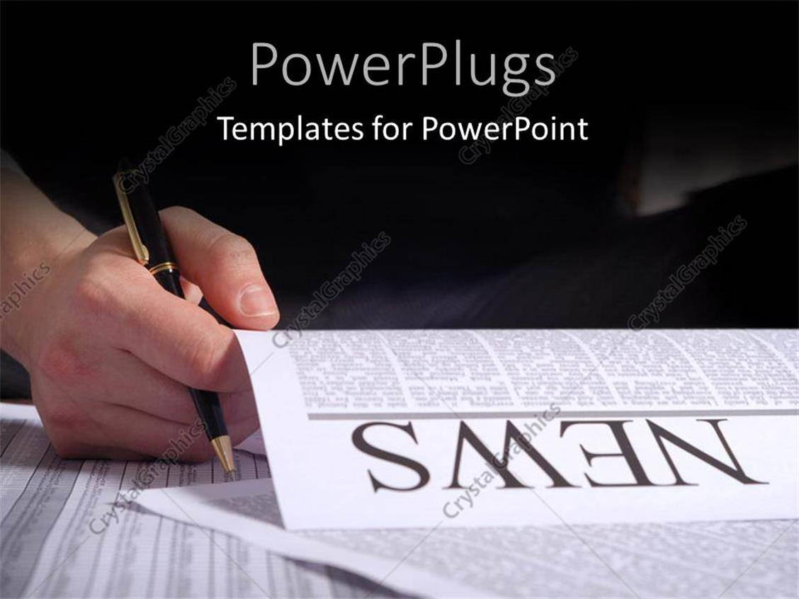 PowerPoint Template Displaying Hand Drawing on Newspaper Page Top Headline with Black Color