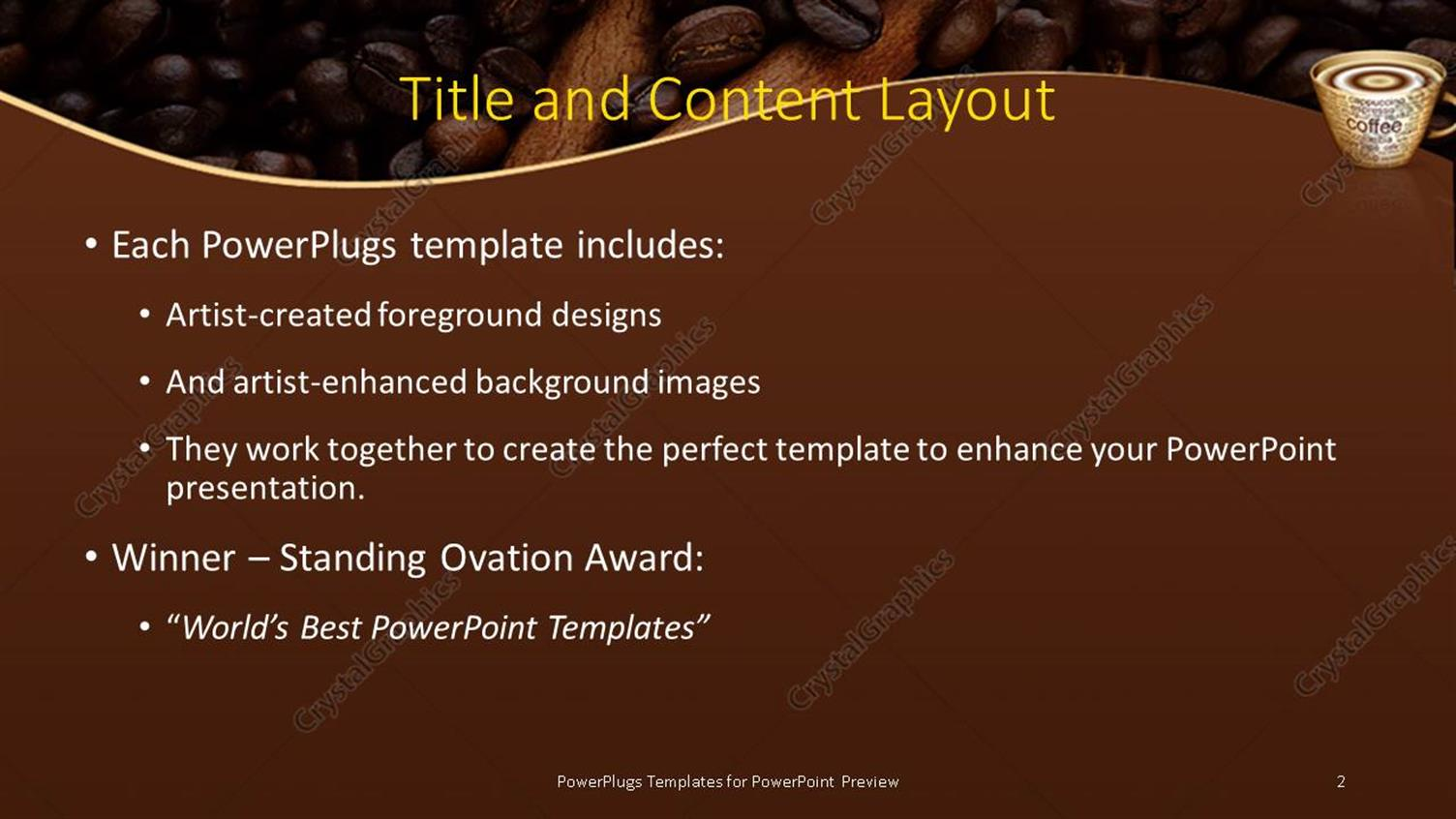 powerpoint template: close-up of steaming coffee in cup with, Presentation templates