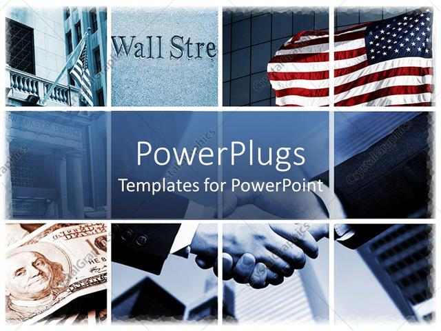 PowerPoint Template Displaying Handshake in Background with Collage Relating to Stock Market