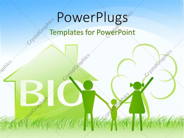 powerpoint template: a happy family with a house in the background, Modern powerpoint