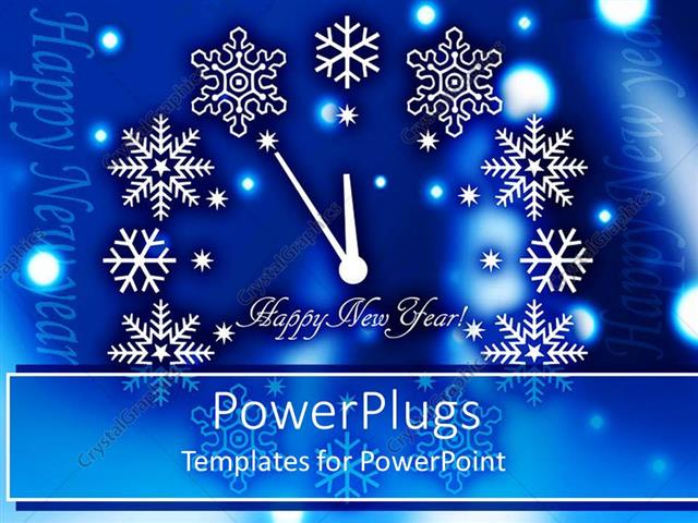 powerpoint template happy new year clock with various