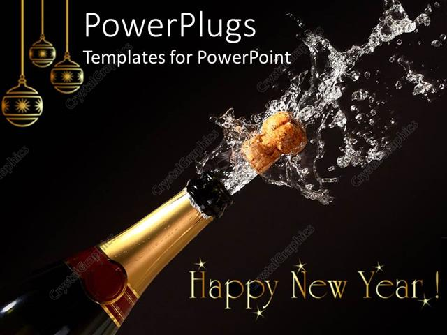 PowerPoint Template Displaying Happy New Year Theme with Champagne Bottle Opening, Gold Christmas Ornaments, Black Background