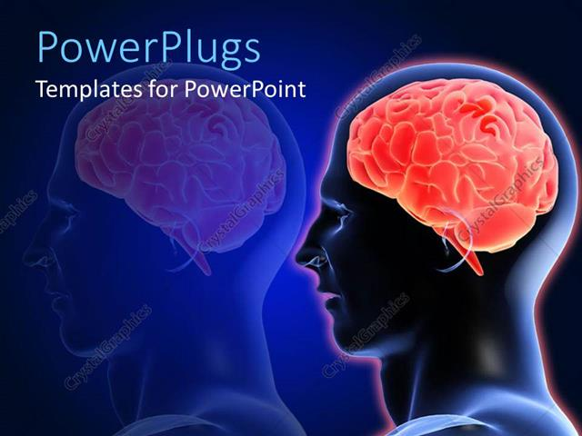 Powerpoint Template Head XRay Showing Brain Of Man