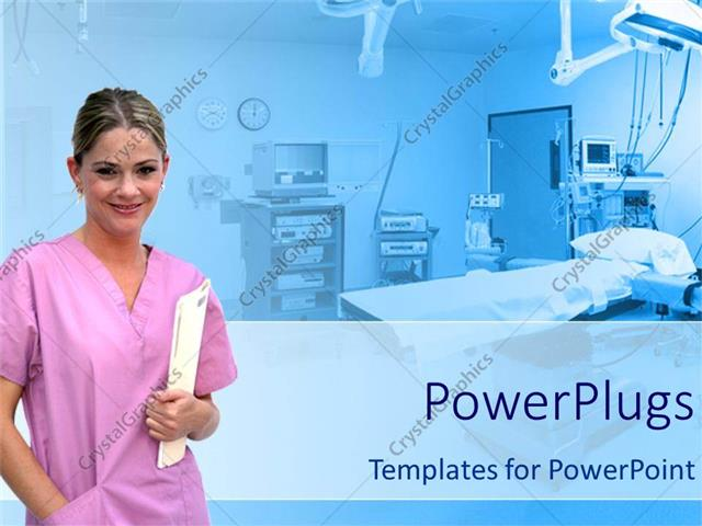 powerpoint template: healthcare theme with smiling nurse in pink, Modern powerpoint