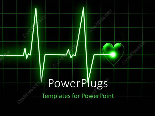 Powerpoint Template Heart Beat On Monitor On A Dark Background