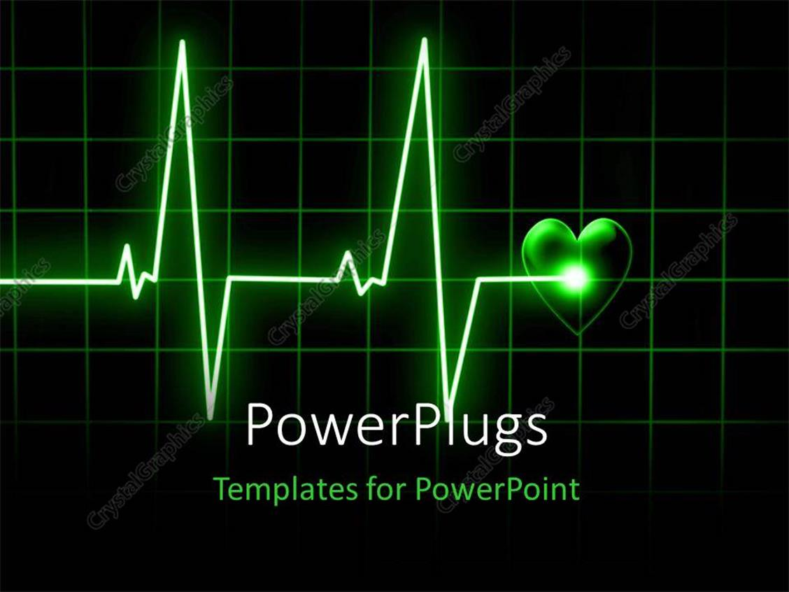 PowerPoint Template Heart beat on monitor on a dark background – Heart Rate Chart Template