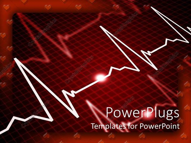 Powerpoint Template Heart Rate Monitor Showing Three Pulse