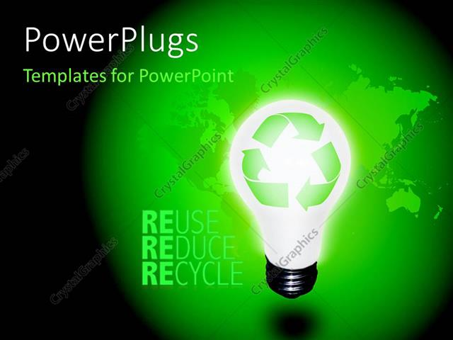 Powerpoint template high resolution recycle idea bulb with powerpoint template displaying high resolution recycle idea bulb with keywords reuse reduce and toneelgroepblik Images