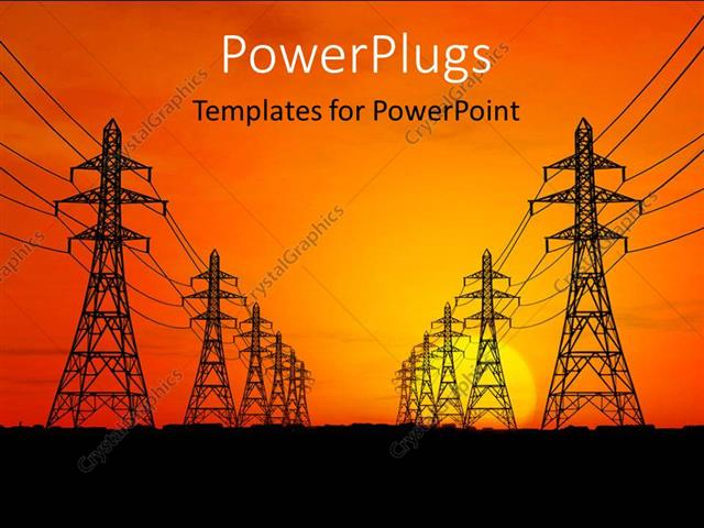 powerpoint template: high voltage electric power lines with, Modern powerpoint