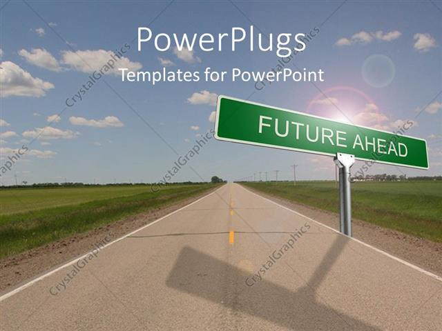 powerpoint template: highway with green road sign reading future, Modern powerpoint