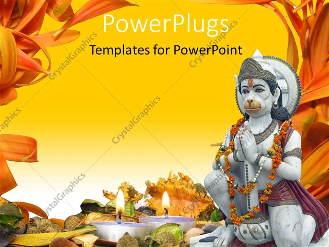 powerpoint template a hindu god statue with yellowish