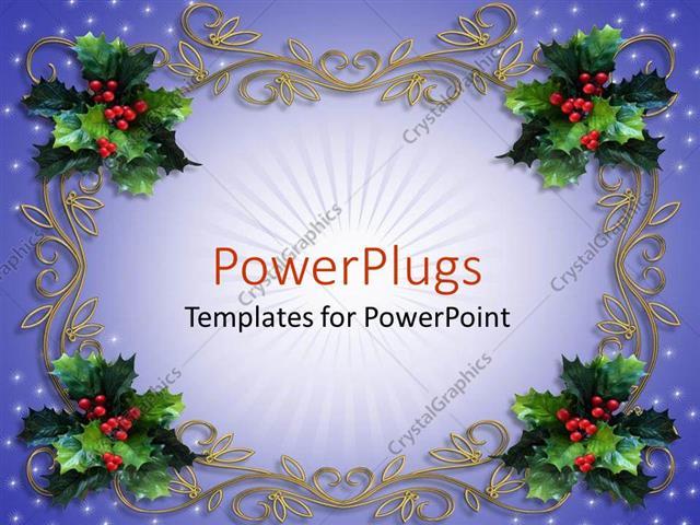 powerpoint template holiday decorations mistletoe design, Powerpoint