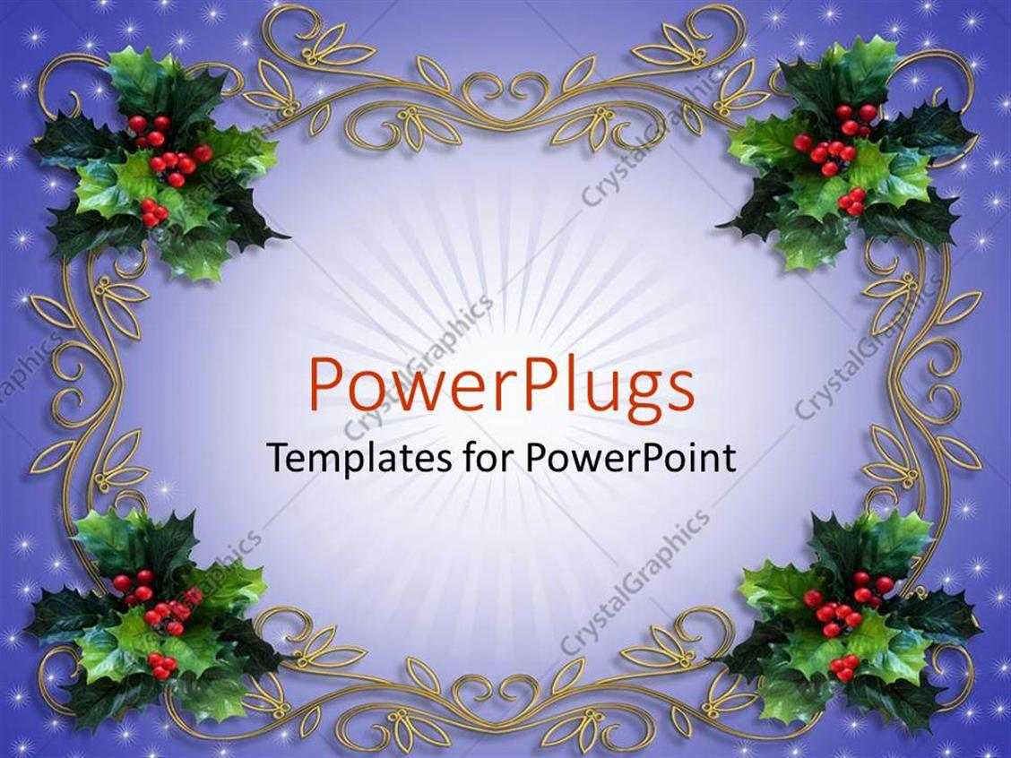 powerpoint template: holiday decorations mistletoe design, Modern powerpoint