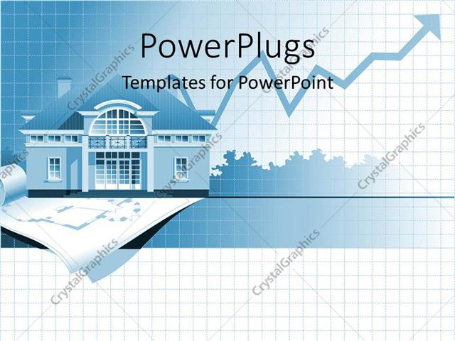 powerpoint template: home values rising, line graph chart, house, Modern powerpoint