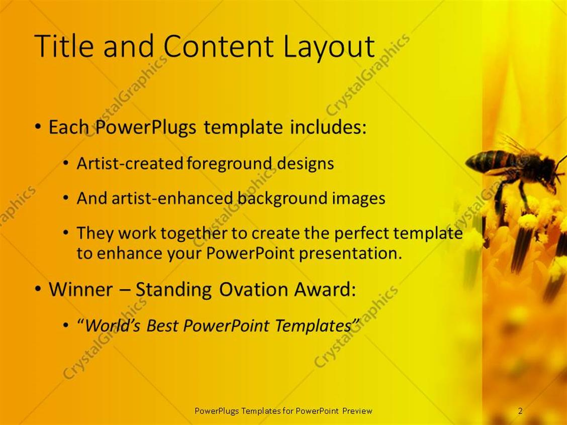 Bee powerpoint template quantumgaming powerpoint template honeybee sitting on a sunflower zoomed in 16507 powerpoint templates toneelgroepblik Images