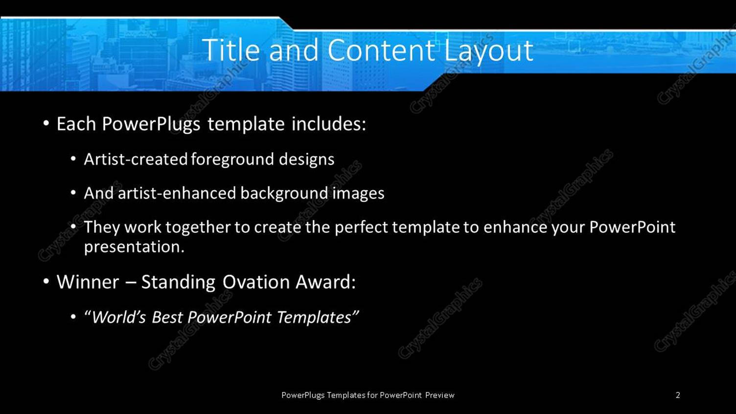 powerpoint template: landscape view of mega city with skyscrapers, Modern powerpoint