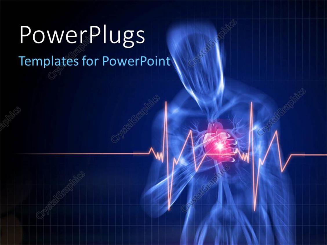powerpoint template human anatomy with pain in heart with