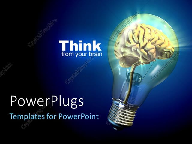 Powerpoint Template Human Brain Inside A Glowing Electrical Bulb