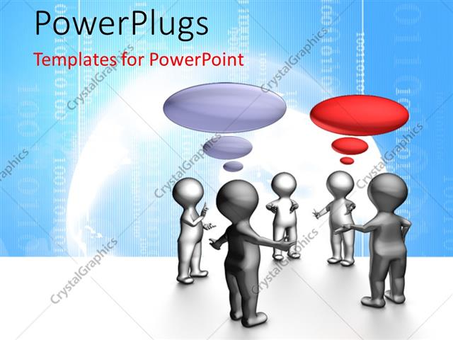 powerpoint template: human character in agile daily stand-up team, Modern powerpoint