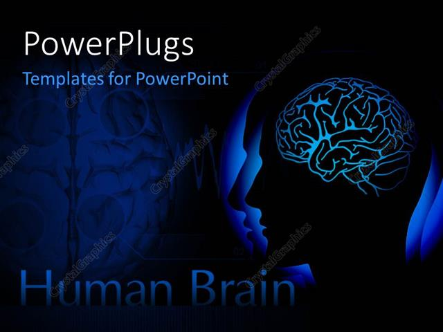 Powerpoint Template: Human Head With Visible Brain Over Dark