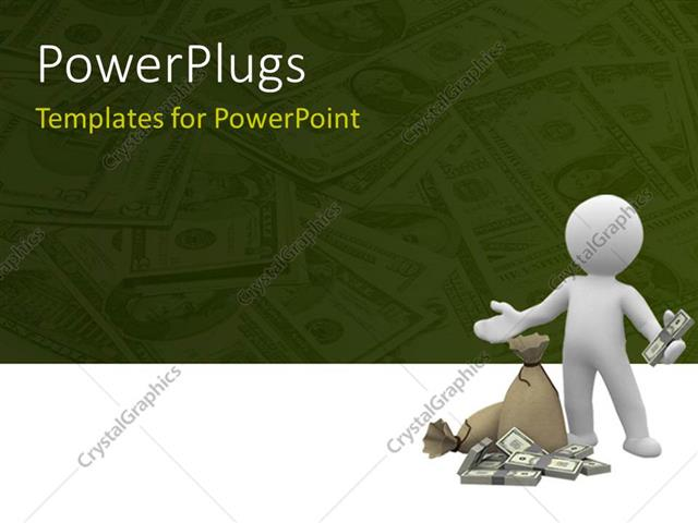 powerpoint template: humanoid holding dollars with some bundle of, Modern powerpoint
