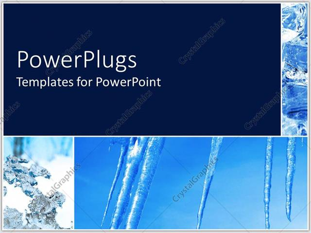 PowerPoint Template Displaying Ice Pillars Stretching from Blue Sky to Snowy Ground