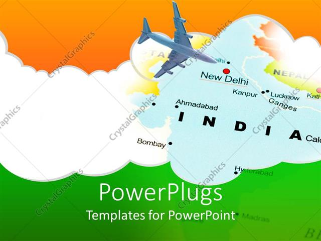 Powerpoint template india new dehli air travel map with for India map ppt template