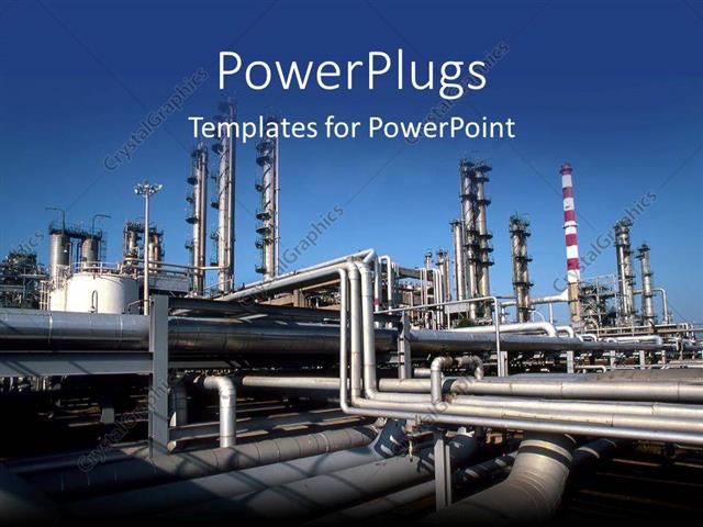 powerpoint template: industrial pipes at a production factory, Modern powerpoint