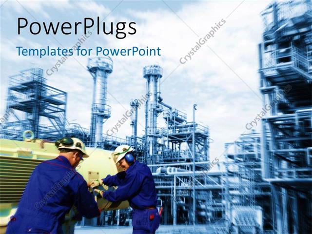 Powerpoint Template Industrial Plant In Background With Engineers