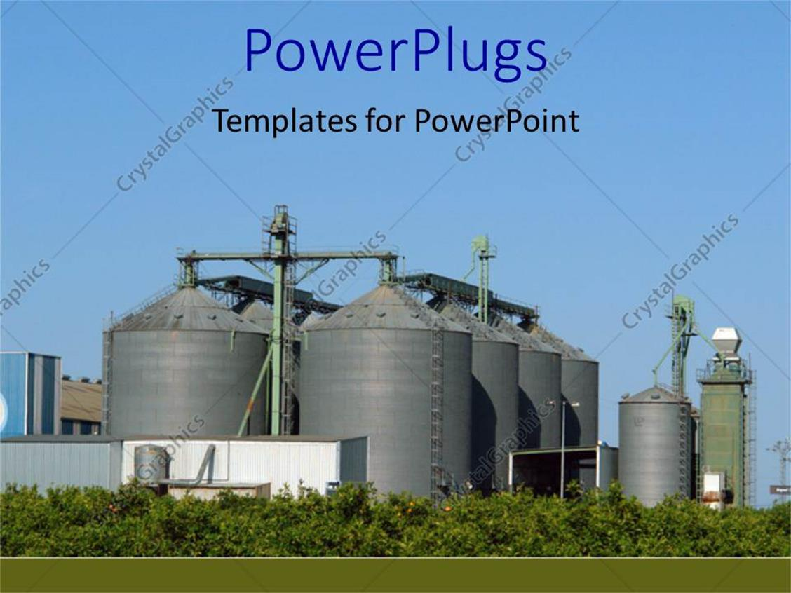 powerpoint template industrial plant representing palm tree, Modern powerpoint
