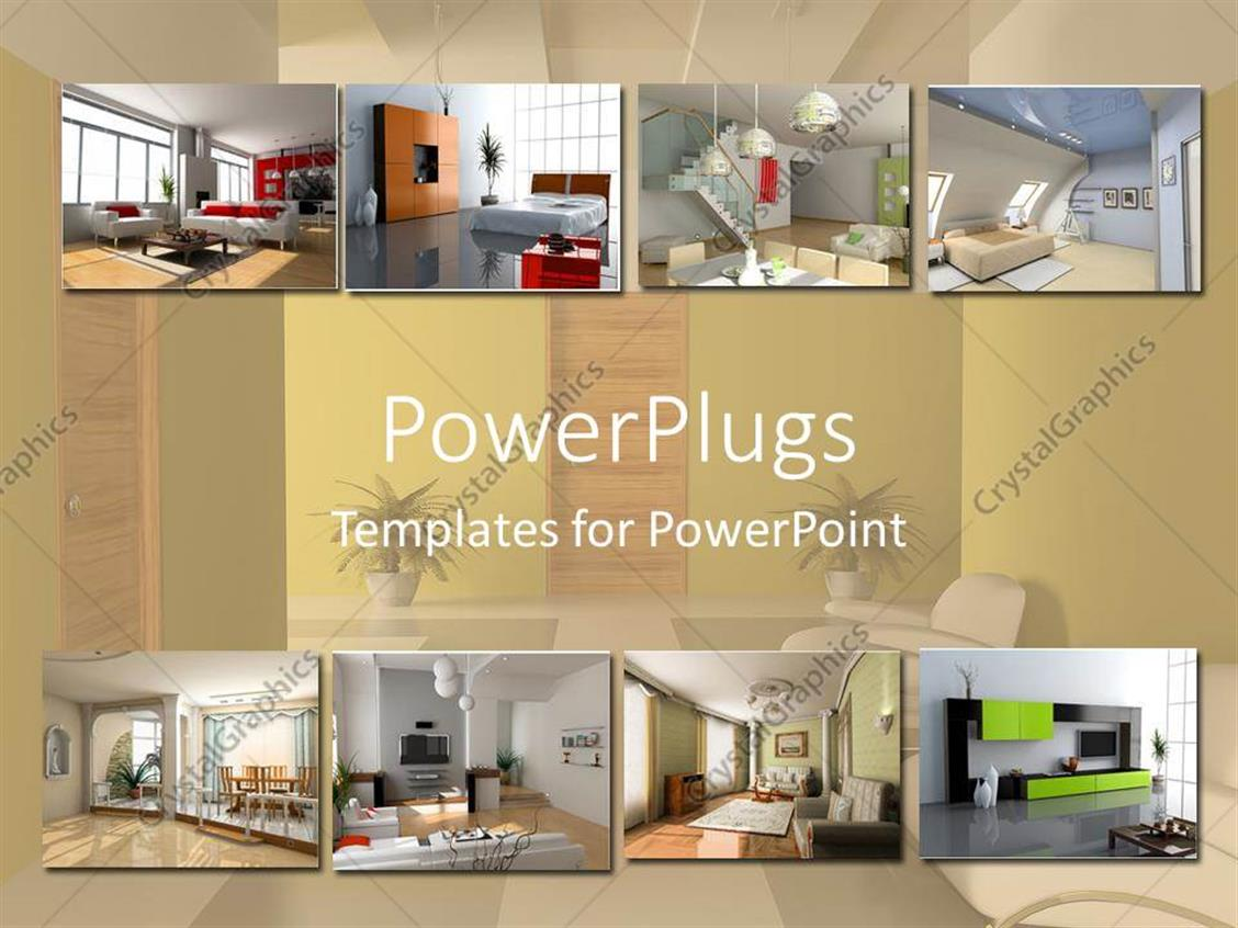Powerpoint Template Interior Design Apartment Modules Home Building Collage Bathroom Living