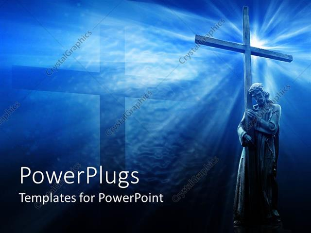 Powerpoint template jesus with cross blue background religious powerpoint template displaying jesus with cross blue background religious toneelgroepblik Image collections