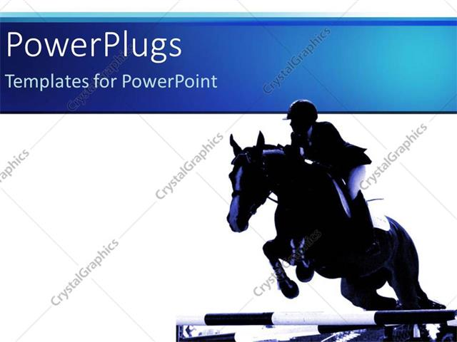 powerpoint template jockey riding jumping horse white