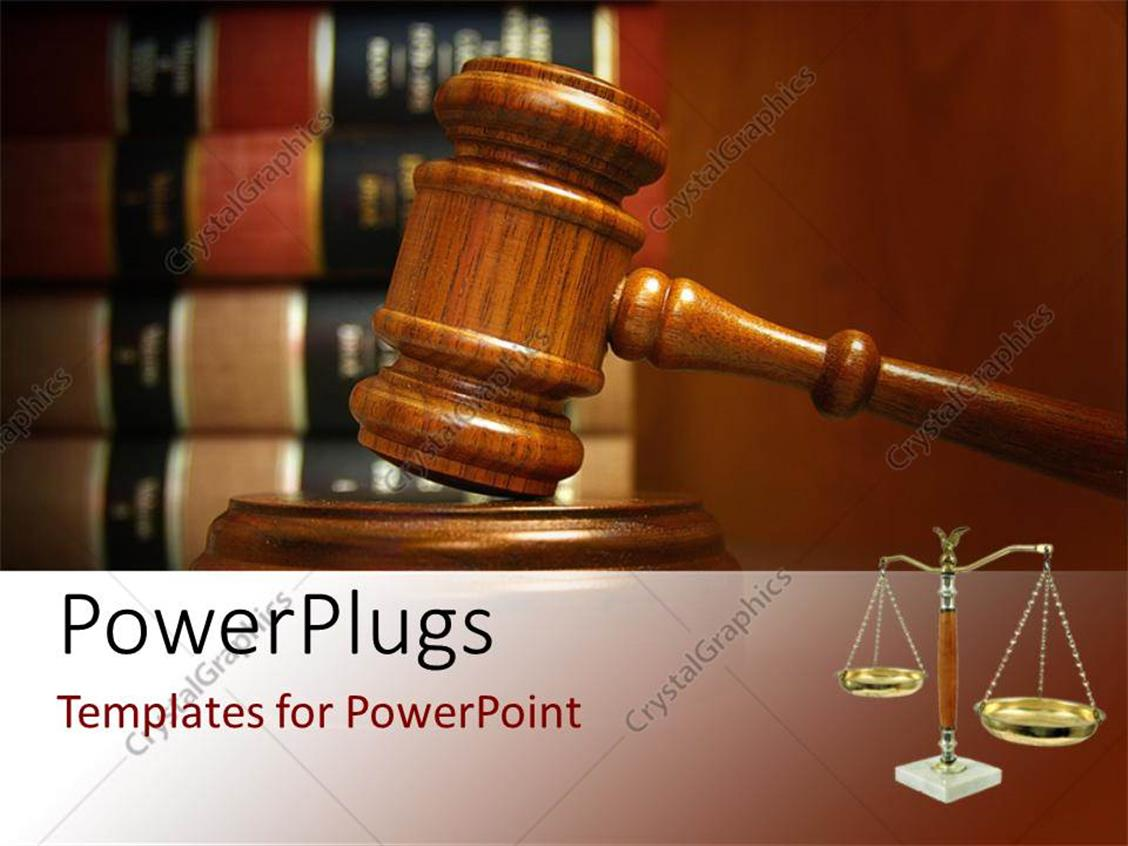 powerpoint template judges gavel and balance with law