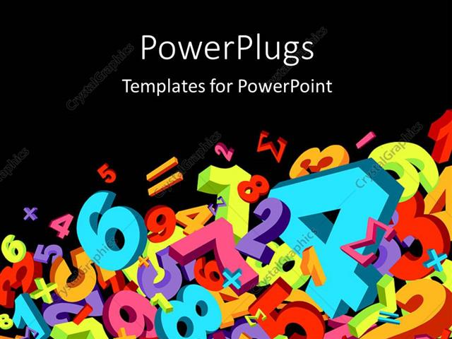 powerpoint template jumble of numbers and math signs in various, Powerpoint