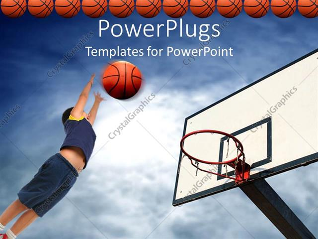 Powerpoint Template Kid Playing Basketball Aiming Basketball To