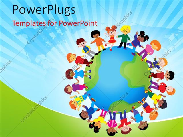 powerpoint template kids playing around the globe with