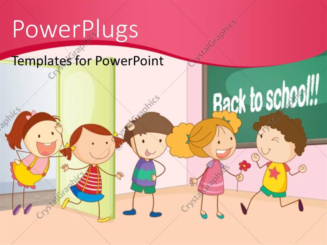 powerpoint template: kids playing and having fun together in, Modern powerpoint
